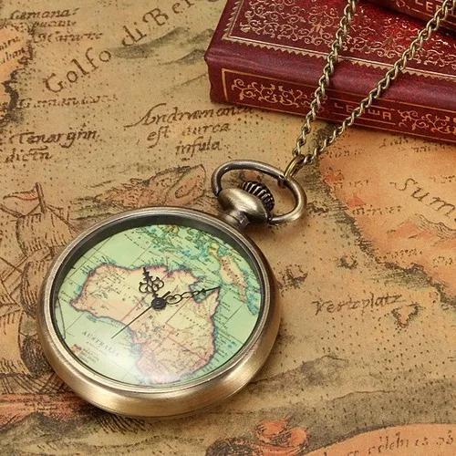 Retro antigo relógio de quartzo quartzo corrente colar de