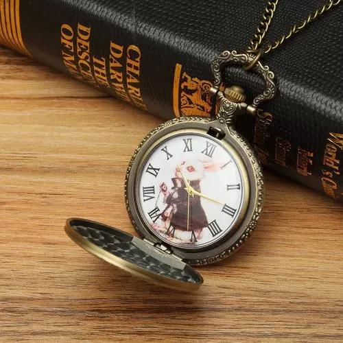 Vintage coelho bronze quartzo relógio de bolso pingente