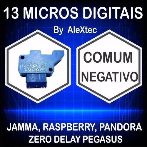 13 micro digital/óptica comum negativo fliperama arcade