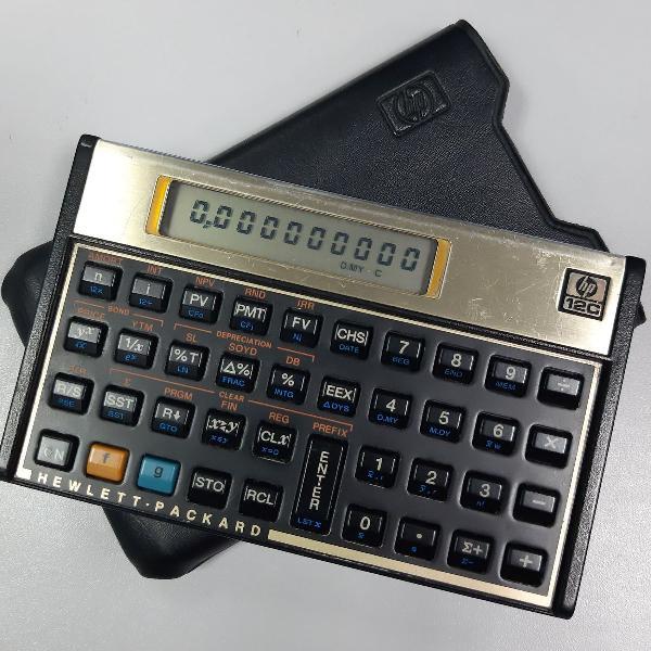 Calculadora hp 12c com capa de couro