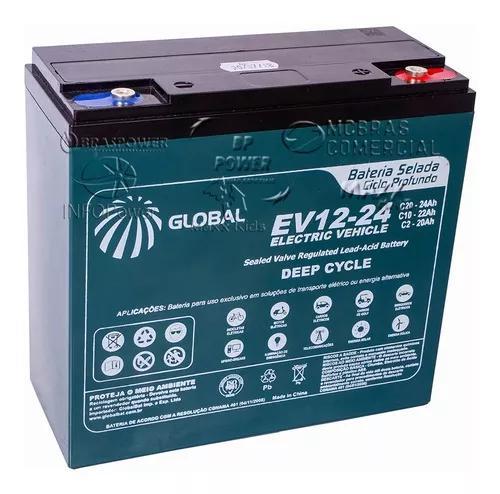 Bateria gel global 12v 24ah 6-dzm-20 ev12-24 ciclo profundo