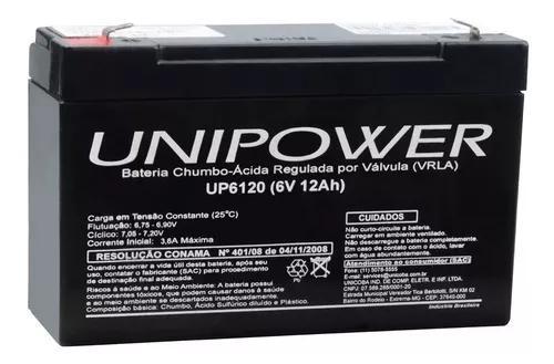 Bateria recarregável 6v 12a up6120 brinquedo 12ah unipower
