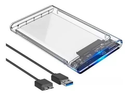 Case hd externo usb 3.0 sata transparente 2,5 gaveta