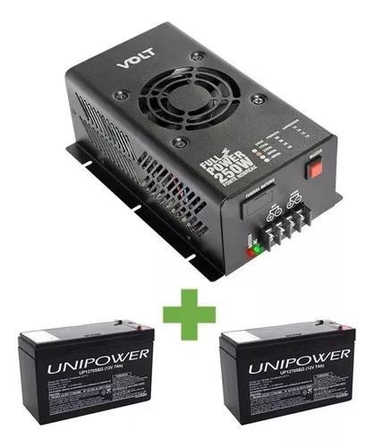 Fonte nobreak full power 250w 24v/10a + 02 baterias 12v/7a