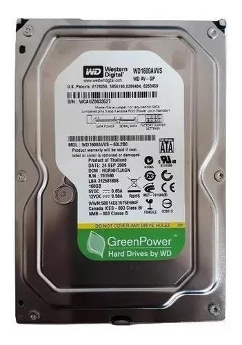 Hd desktop wd green power 160gb sata 3gb/s wd1600avvs
