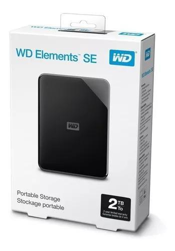 Hd externo wd 2tb portatil 3.0 e 2.0 preto 2 anos garantia