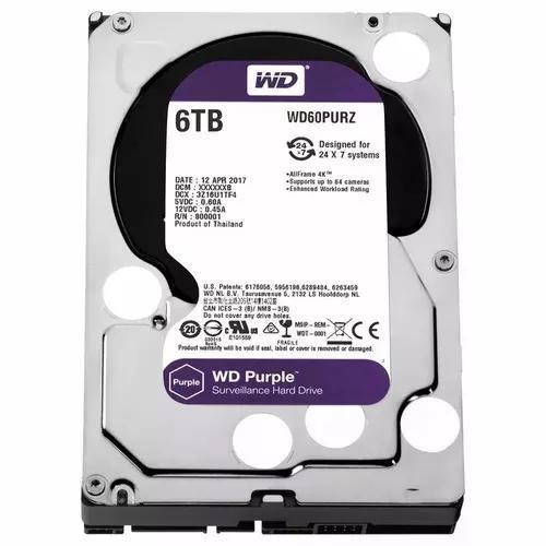 Hd interno western digital purple 6tb sata 3 6gb/s wd60purz