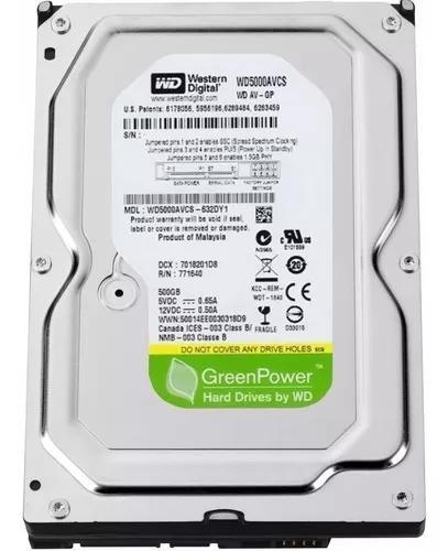 Hd pc dvr 500gb sata 3 western digital green power - novo