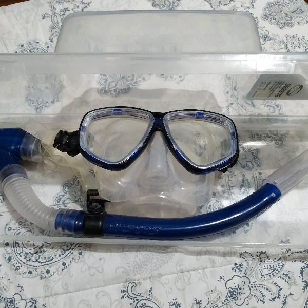 Kit mergulho snorkel e máscara
