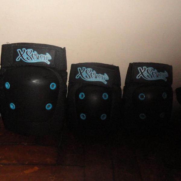 Kit de proteção skate xseven azul