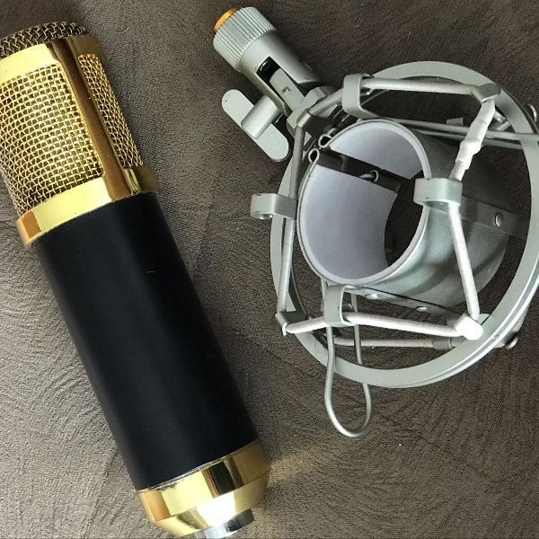 Microfone bm800 dourado