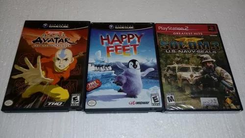 Avatar + happy feet game cube + 1 jogo play 2 novo.