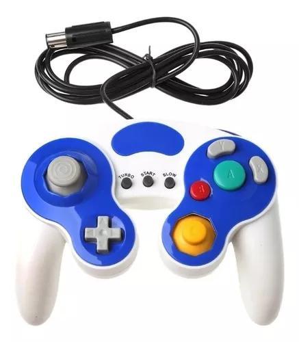 Controle gamecube turbo e wii azul + branco/ plug oficial