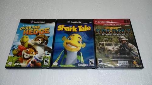 Shark tale + over the hedge game cube + 1 jogo play 2 novo.