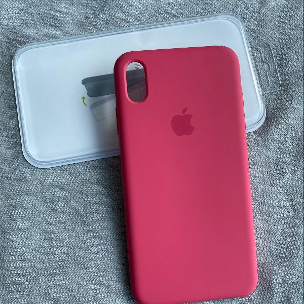 Capa em silicone apple original na cor pitaya para iphone xs