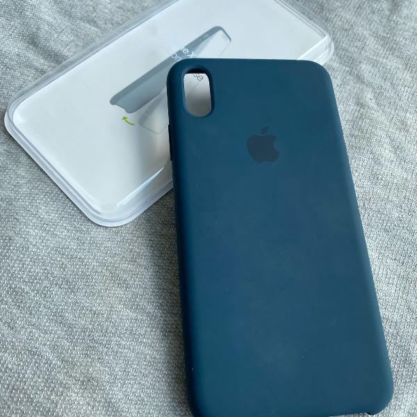 Capa em silicone azul pacífico original apple para iphone