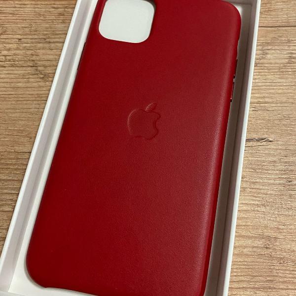 Capa iphone 11 pro max de couro vermelha original apple