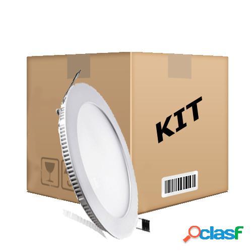 Kit 10 Painel Plafon Redondo Luminária Embutir Led 18w Bivolt Branco Frio