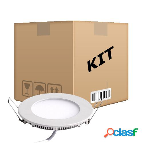 Kit 10 Painel Plafon Redondo Luminária Embutir Led 6w Bivolt Branco Quente