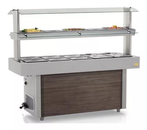 Buffet térmico e refrigerado self-service gmtr-190 gelopar