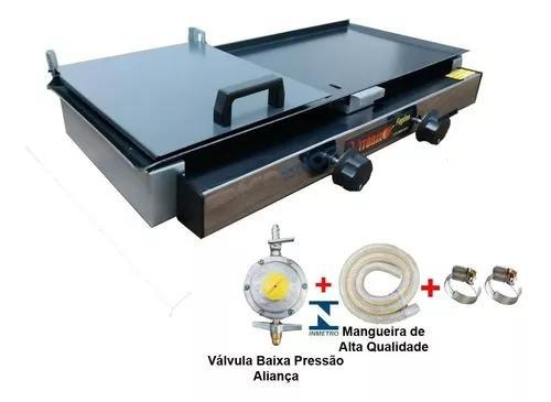 Chapa gas lanche dog 2 bocas 30x60 prensa abafador com kit