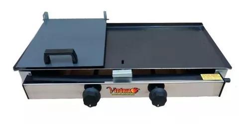Chapa lanche com prensa 30x55 a gás 2 bocas - frete grátis