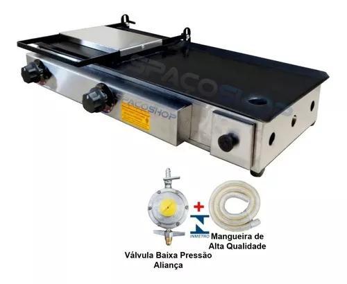 Chapa lanche hamburguer 2 bocas m7030 c/ abafador c/ kit gas