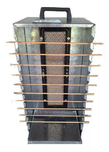 Churrasqueira aço galvanizado portátil 10 espetinhos