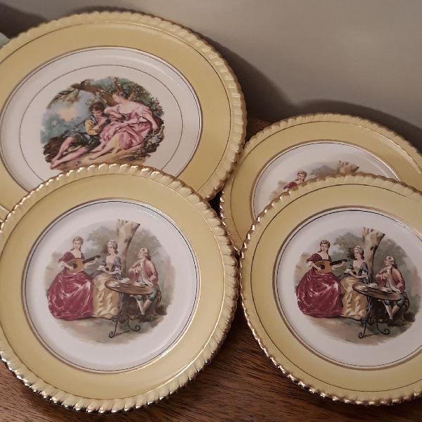 Conjunto prato de bolo em porcelana