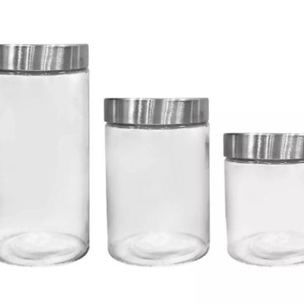Jogo porta mantimentos 3 peças em vidro dynasty kitchen gde