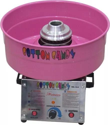 Máquina p/ fazer algodão doce cotton candy cuba rosa + kit