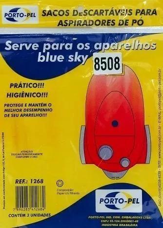 Saco descartável para aspirador de pó blue sky 8508 pct 3