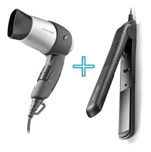 Secador dobravel portatil bivolt pequeno + chapinha cabelo