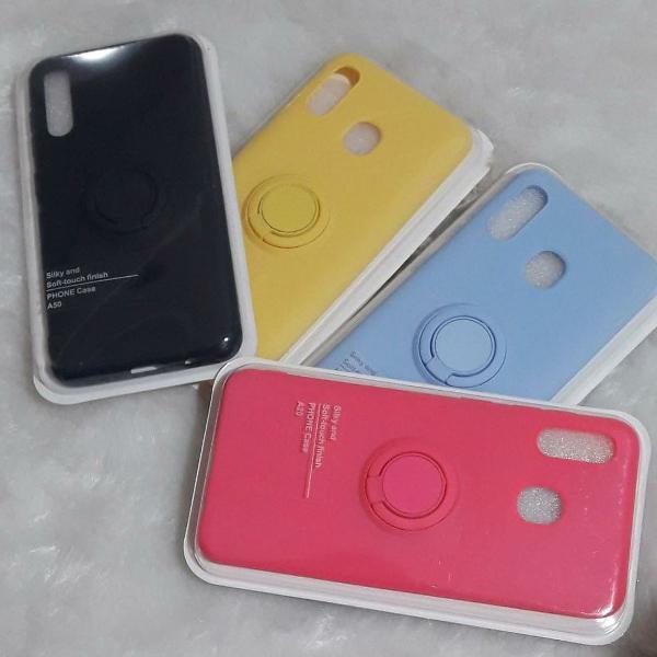 Case para celular samsung a20 com anel para proteção