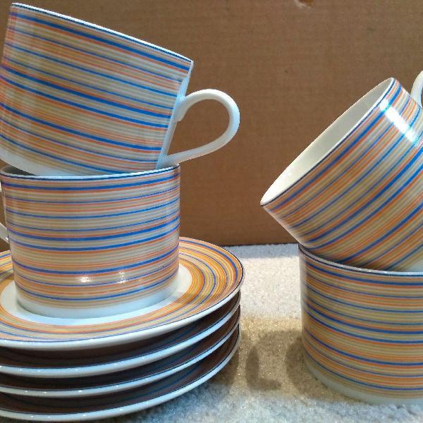 Conjunto 4 xícaras de chá com pires porcelana schmidt