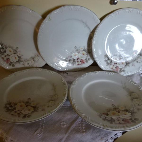 Conjunto pratos rasos 7 peças vitória eterna porcelana