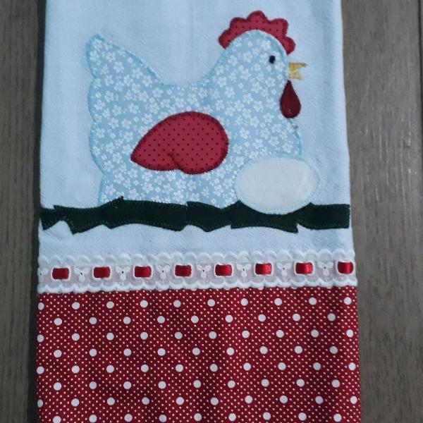Kit 4 panos de prato com bordado patchwork, barrado com