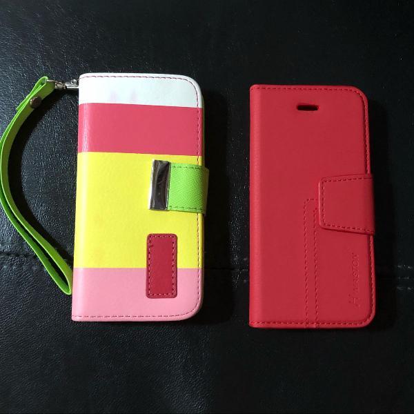 Kit com 2 capinhas porta cartões para iphone 5c
