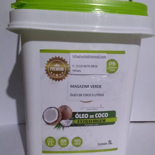 Oleo de coco extra virgem - galão de 5 litros