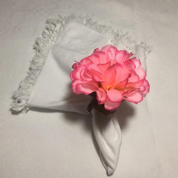 Porta guardanapo flores rosa - 04 unidades