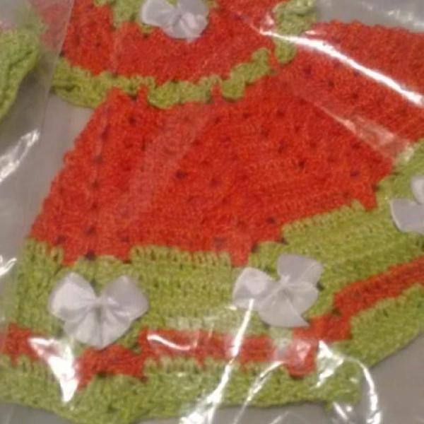 Porta pano de prato de vestidinho de crochê