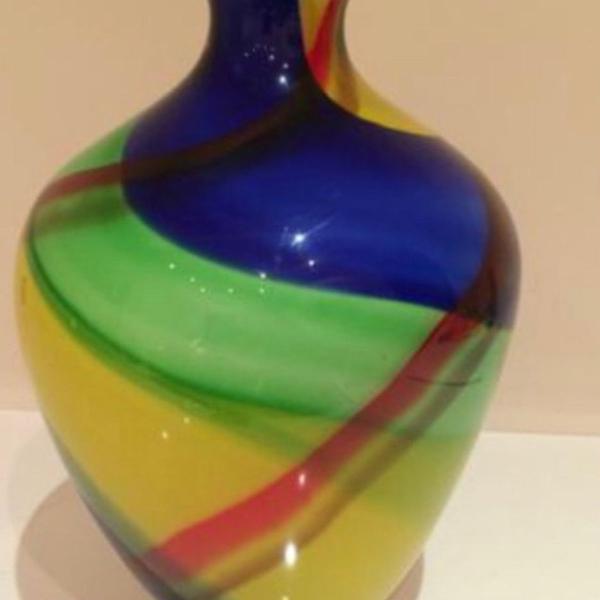 Vaso decorativo (azul, amarelo, verde)