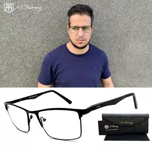 Armação oculos grau masculino mt132 original haste 180