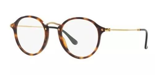 Armação oculos grau ray ban rb2447v 5494 49mm marrom