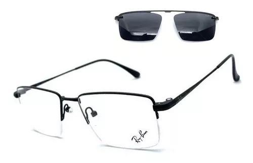 Armação oculos grau solar masc clip on original aluminium