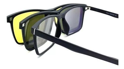 Armação oculos grau solar masculino clip on original