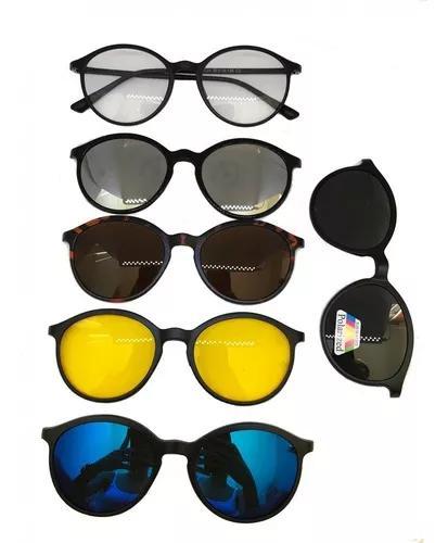 Armação para óculos de grau + 5 lentes clip on de sol