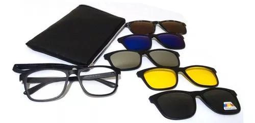 Armação óculos grau clip on sol polarizado espelhado 1a
