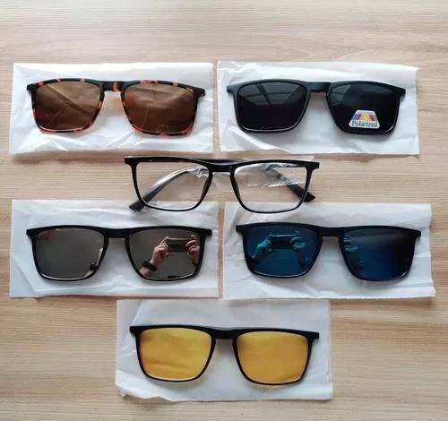 Armação óculos p/ grau 2249 clip on 6 x 1 polarizado