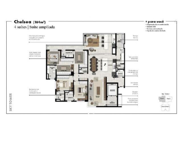 Garden são francisco 184m² 4 suites 4 vagas lazer completo